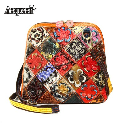 Genuine Leather Messenger Bags Stripe Matte Casual Patchwork Flower Women Shell Shoulder Bag Girls Lady Necessary Crossbody