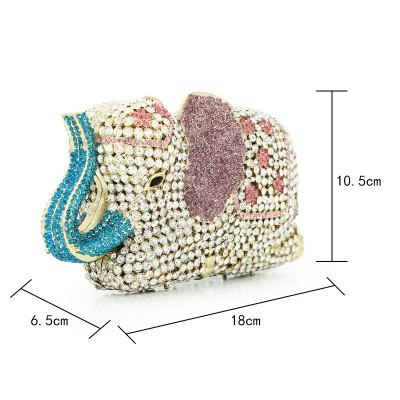 classic fashion rhinestone elephant clutch bag animal evening crystal stone bag hardcase party handbags (88192A-YE)