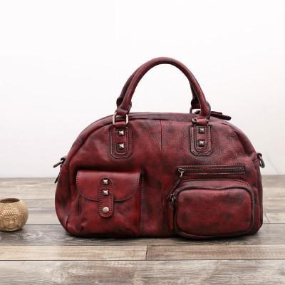 2017 Direct Selling Limited Vintage Handmade Genuine Leather Women Handbag Shoulder Hobos Bag Cowhide Rivets Cross Body Totes