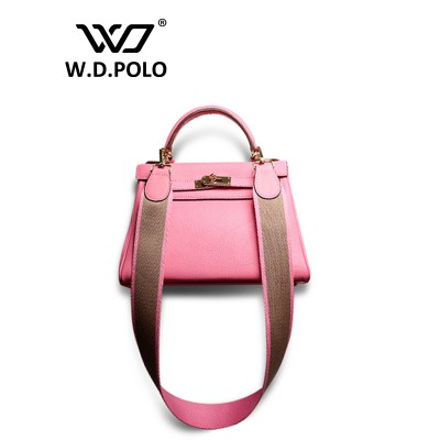 W.D.POLO Strapper you Genuine leather handbag women house of hi cover lock bag famous brand design bag shoulder bag M1701