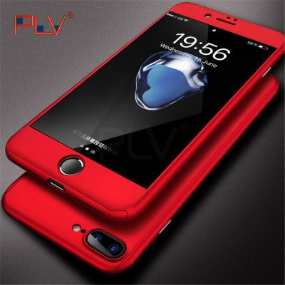 PLV 360 Case For iPhone 6 6s 7 Plus Case Shockproof Slim Cover Full Degree Protective Tempered Glass For iPhone 5 5s 8 8 Plus X