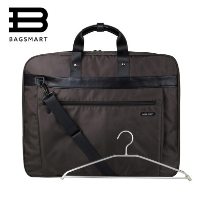 BAGSMART Lightweight Black Nylon Business Dress Garment Bag With Handle Clamp Waterproof Suit Bag Durable Men'S Suit Travel Bag
