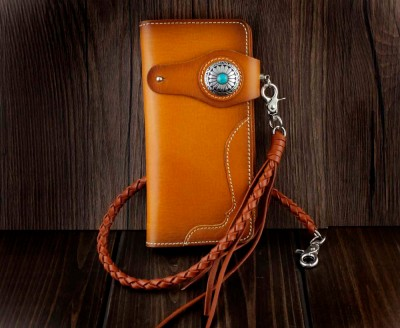 Men Turquoise Concho Leather Long Handmade Biker Wallet W Braid Leather Chain