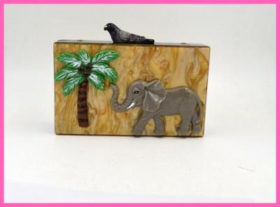 Brand Design vintage elephant garden womens handbag clutch evening bag personality Acrylic Casual purse wallet fashion  A574