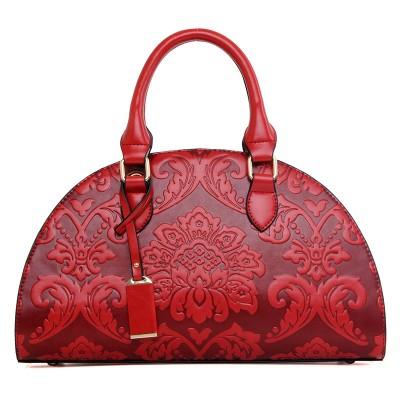 New Flowers Embossed Chinese Style Vintage Fashion Women Shell Bag Leather Women Handbag Ladies Shoulder Bag Women tote bag