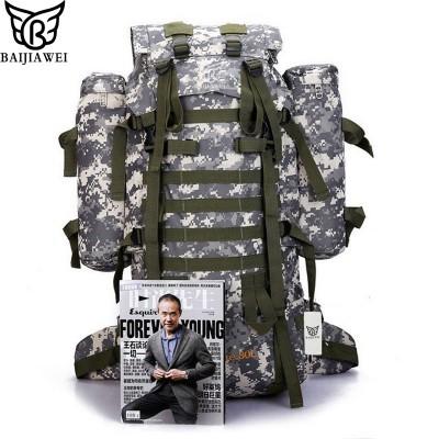BAIJIAWEI 80L Big Capacity Backpack Trekking Rucksacks Men Backpacks Camouflage Multifunction Travel Backpack with Raincover
