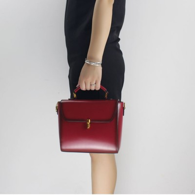 2017 Fashion Original Contracted High-grade Women Handbag Leather Bag Wine Red Shoulder Bag