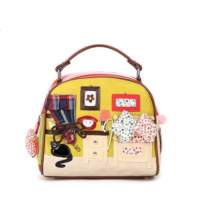 Appliques Cartoon Fashion Women Messenger Bags Handbags Women Famous Brands Shell Leather Shoulder Bags for Girls bolsas T597