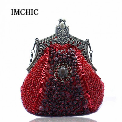 2017 New women Evening party Bags Luxury Beads Clutch Handmade Vintage Phone Purse Banquet Wedding dress Handbags Wholesale Drop