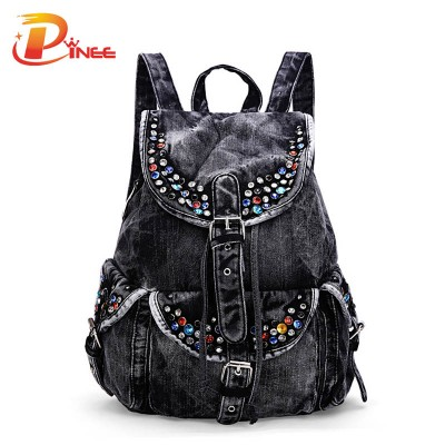 American apparel denim backpack Denim Women Backpacks Large Capacity Shoulder Bags Travel Bags Casual School Bag black blue denim backpack