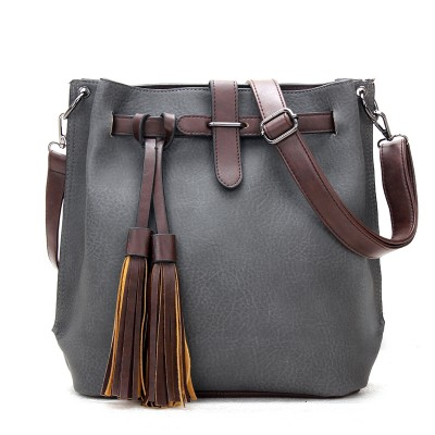 Vintage Women Bucket Bag Leather Messenger Bags Handbags Women Famous Brands Designer Female Shoulder Tassel Bag bolsas sac