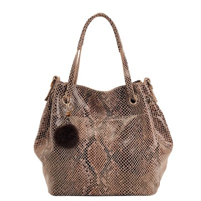 Genuine Leather Cow Serpentine Large Handbags Women Snake Casual Tote Shoulder & Hasp Bag Bucket Handbag Designer Fashion Brand