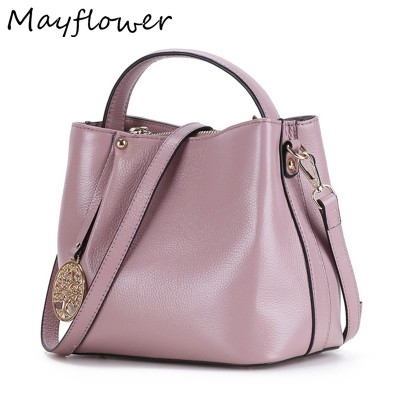 Real 100% Genuine Leather Crossbody Bags Bucket Small Designer Brand Handbags Tote Messenger Shoulder Bags For Women Sac A Main