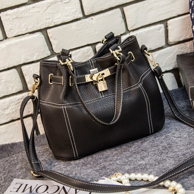 vintage casual small bucket tote hotsale women black leather handbag ladies party purse clutch crossbody shoulder messenger bags