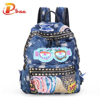 American apparel denim backpack Women's Denim Backpacks School Bags For Women Teenager Girls Shoulder Bag Large Travel black blue denim backpack
