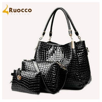 2017 New Women Bags Composite Bag For Female Patent Leather women message bags Alligator Print Versatile Set Artificial Leather