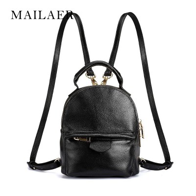 Brand Top Layer Genuine Leather Mini Backpack Women Leisure Travelling Bag for Teenage Lady