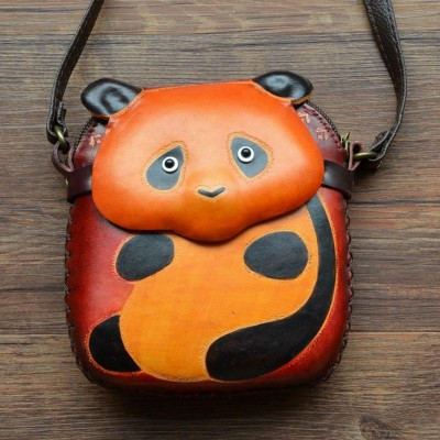 Hand Made Gift Cow Leather Lovely Cartoon Bear Shape Women Messenger Bag Genuine Girls Leather Chinese Panda Cross Body Bag A033