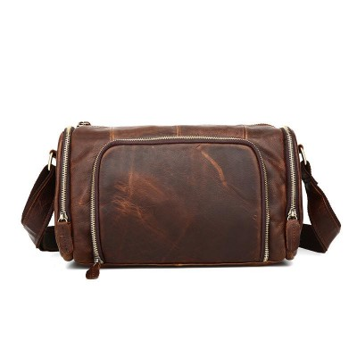 High Quality Genuine Leather Cowhide Single Shoulder Messenger Crossbody Bags Real Cowhide Purse Famous Male Small Hand Bag