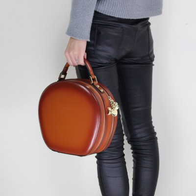 Original Design Double Zipper Genuine Leather Women Handbag Shaping Small Round Package Personalized Portable One Shoulder