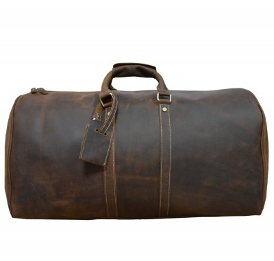Men's Crazy horse leather travel duffle  24 inch Brown genuine leather travel bag  Big vintage cow leather Boston Weekend bag