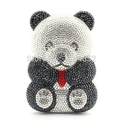 Factory Wholesale Lovely Handmade Bear shape crystal clutch bag women brand bag style evening clutch crystal