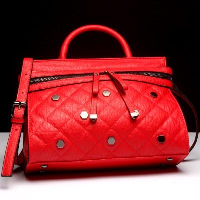 2017 New Fashion Rivets Quilted Leather Bracelet Bag Ms. Bags Small Shoulder Bag for Women Handbag Crossbody Bag Red Wristlet