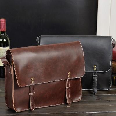 mens briefcase crazy horse leather messenger bag Durable Black sling bags for men retro leather bag