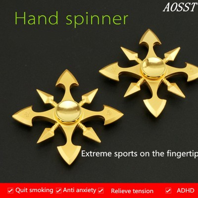 Finger Fidget Toys (AOSST) Metal  Hand Spinner Gold Fidget Spinner Finger Spinner OW Stress Wheel Fidget Toy Fidget Toys for Children Fidget Toys for Adults