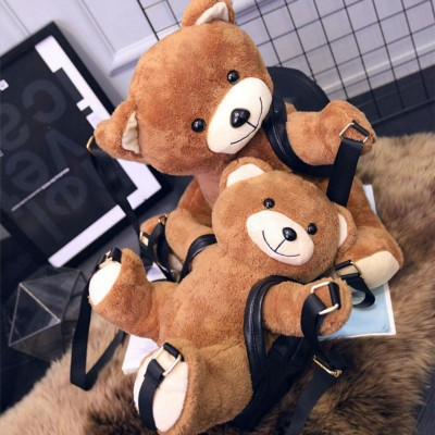 Winter College School Style Women Stuffed Ted Shoulder Bag Small Girl Purse Cute Small Warm Teddy Bear Shape Backpack B008