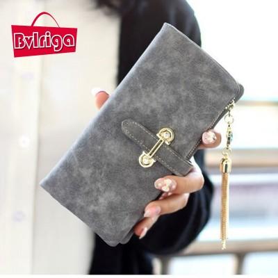 BVLRIGA Nubuck leather Women wallets famous brand Short purses bag high quality money clip tassel casual designer zipper clutch