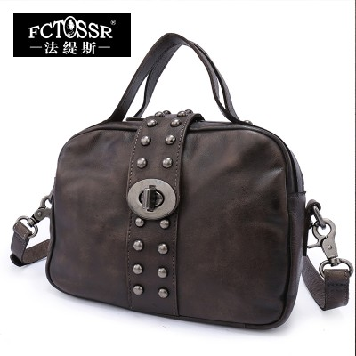 Women Bags 2017 Genuine Leather Vintage Top Handle Bag Messenger Bag Shoulder Bags Female Handbag Shell Rivet Metal Lock