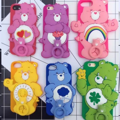 Funny 3D Cartoon Rainbow bear soft silicone Phone cover for Iphone 6 6s Plus back Protector Skin cover case for iphone 7 7 plus