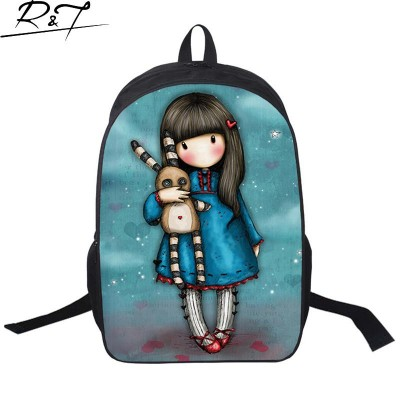 Cute Illustration Little Girl Prints School Bags Gorjuuss Vintage ...