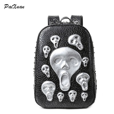 PACENTO 2017 Fashion Women Backpack Female luxury brand women's rivent 3D skull leather school bag for teenage girl sac a dos