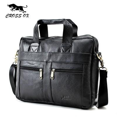 CROSS OX Genuine Leather Men Briefcase Man Bags Business Laptop Tote Bag Men's Crossbody Shoulder Bag Men's Travel Bags HB373M