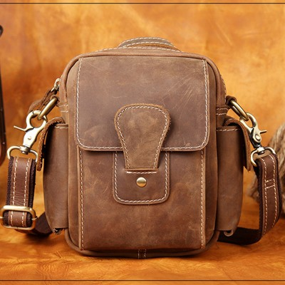 High Quality 2017 Vintage Genuine Leather Bags Waist Packs For Men Belt Waist Bag For Men Casual Fashion Brand Business Bag 1035