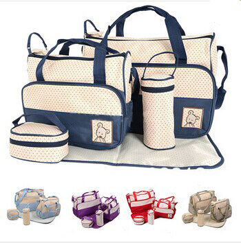 Baby Care 2017 Fashion 5Pcsset Diaper Bag Mummy Bag Mother Bag For Baby High Quality Baby Changing Bags 7 Colors