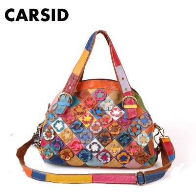 High Quality Brand Designer Handbag Genuine Cowhide Real Leather Flower Shell Bag Women Famous Patchwork Shoulder Bag