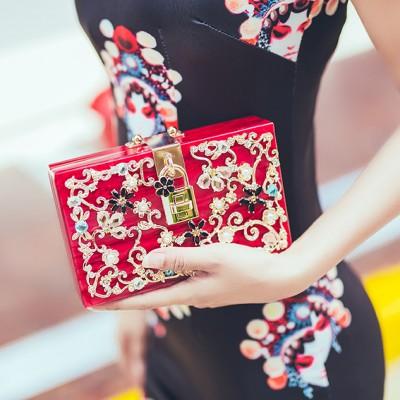 New Luxury high quality diamond carved hollow lock acrylic suede ladies party evening bag Clutch handbag shoulder bag flap purse