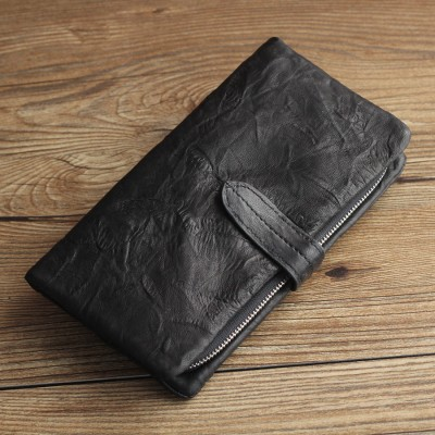 Men Genuine Leather Wallet Coin Purse Bag Long Male Soft Leather Business Card id Holders Quality Handmade Female Suit Wallets
