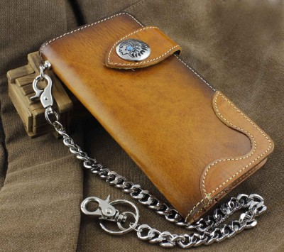 Handmade Genuine Leather Biker Hip Hop Men's Long Wallet w Met Key Chain VF3