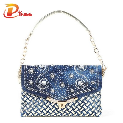 Rhinestone Handbags Designer Denim Handbags Women bag 2017 new summer fashion lady shoulder bags designer handbags high quality woven denim bags