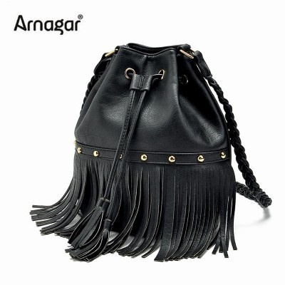 2017 famous brand bucket bags tassels leather designer handbags rivets high quality fringe for women crossbody bags shoulder bag