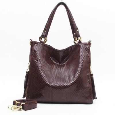 OL style Serpentine Embossed Large Capacity Ladies Shoulder Bags Handbags Women With Long Strap 30562