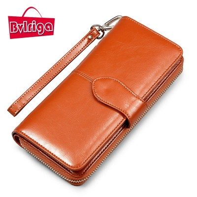 BVLRIGA Long oil wax women leather purse designer wallets famous brand women wallet hasp credit card holder clutch bag fashion