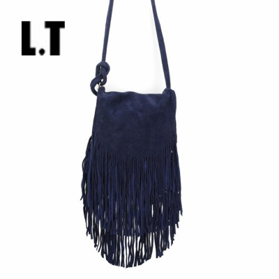 2017 Women Genuine Leather Suede Small Shoulder Bags Plain Navy Blue Long Fringed Tassel Ibiza Rock Gothic Soft Messenger Bags