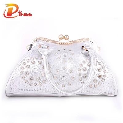 Rhinestone Handbags Designer Denim Handbags Luxury Brand Women Clutch Bag 2017 Silver and Gold Crystal Clutch Evening Bags PU Leather Denim Handbags