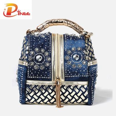 Rhinestone Handbags Designer Denim Handbags Women Handbag Famous Brand Rhinestone Totes Shoulder bag Luxury Bags