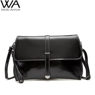 Genuine Leather Women Clutch Real Leather Purse Waxed Cowhide One Shoulder Bag Fashion Satchel Casual Bolsas Femininas